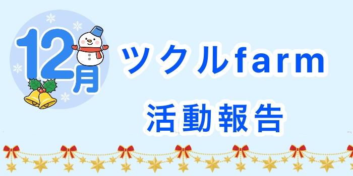 12月☆ツクルframの活動報告